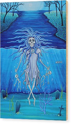 Wood Print featuring the painting La Llorona Arrepentida by Evangelina Portillo
