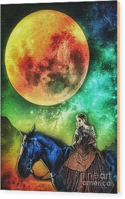 La Luna Wood Print by Mo T