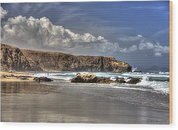 Wood Print featuring the photograph La Pared Cliff And Rocky Beach On Fuertaventura Island by Julis Simo