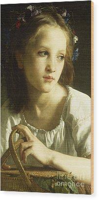 La Petite Ophelie Wood Print by William Adolphe Bouguereau
