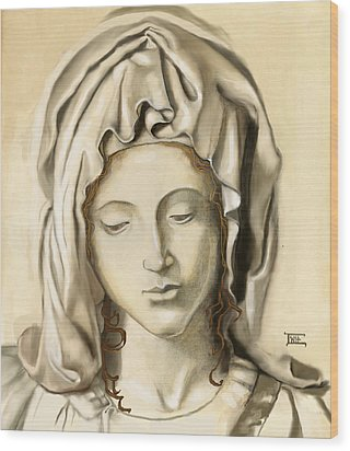 Wood Print featuring the painting La Pieta 2 by Terry Webb Harshman