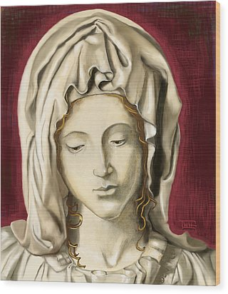 Wood Print featuring the painting La Pieta 3 by Terry Webb Harshman