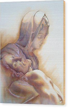 La Pieta By Michelangelo Wood Print by J- J- Espinoza