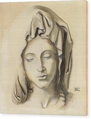 Wood Print featuring the painting La Pieta-progression 1 by Terry Webb Harshman