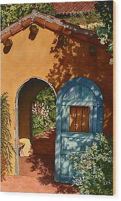La Posada Hotel Hollyhock Garden Winslow Az Wood Print