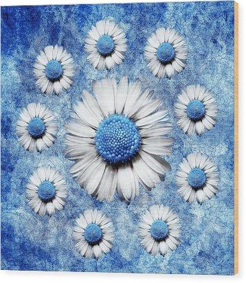 La Ronde Des Marguerites - Blue V05 Wood Print by Variance Collections