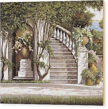La Scalinata Wood Print by Guido Borelli