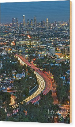 La Skyline Night Magic Hour Dusk Streaking Tail Lights Freeway Wood Print by David Zanzinger