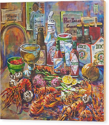 La Table De Fruits De Mer Wood Print by Dianne Parks