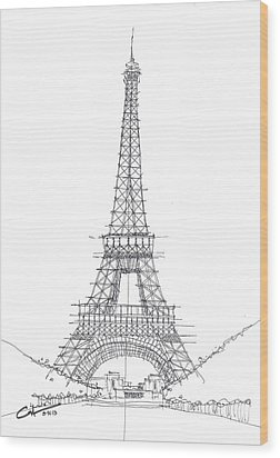 Wood Print featuring the drawing La Tour Eiffel Sketch by Calvin Durham