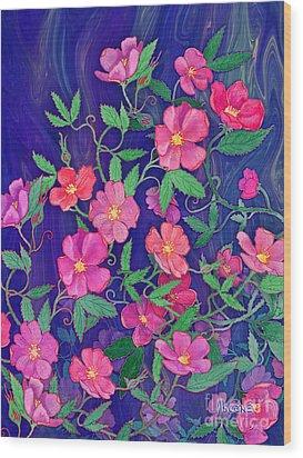 Wood Print featuring the mixed media La Vie En Rose by Teresa Ascone