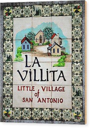 La Villita Tile Sign On The Riverwalk San Antonio Texas Watercolor Digital Art Wood Print by Shawn O'Brien