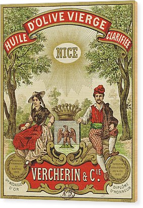 Label For Vercherin Extra Virgin Olive Oil Wood Print by French School