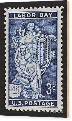 Labor Day Vintage Postage Stamp Print Wood Print by Andy Prendy