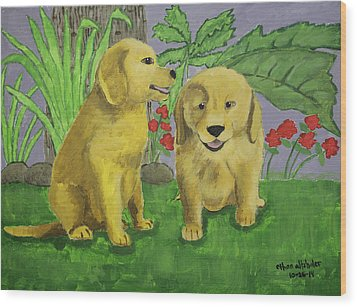 Labrador Puppies Wood Print by Ethan Altshuler
