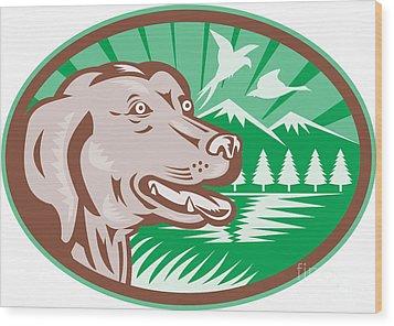 Labrador Retriever Hunting Dog Retro Wood Print by Aloysius Patrimonio