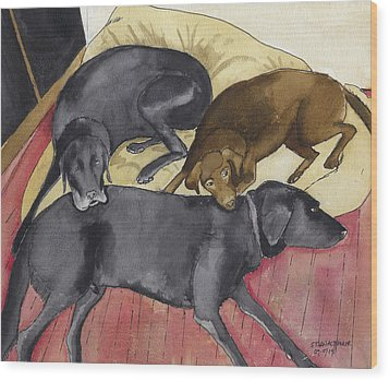 Labrador Retrievers Resting At Home Wood Print by Ethan Altshuler
