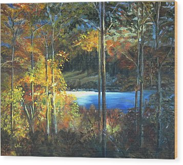 Wood Print featuring the painting Lac Fortune Gatineau Park Quebec by LaVonne Hand