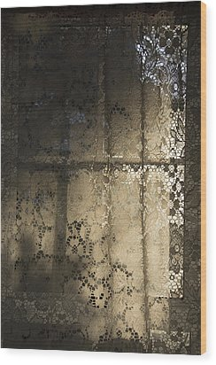 Wood Print featuring the photograph Lace Curtain 1 by Jocelyn Friis
