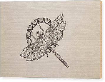 Lace Dragonfly Wood Print by Jodi Harvey-Brown