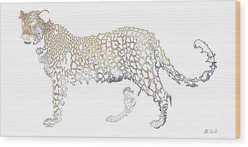 Wood Print featuring the digital art Lace Leopard by Stephanie Grant