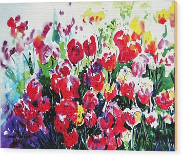 Wood Print featuring the painting Laconner Tulips by Marti Green