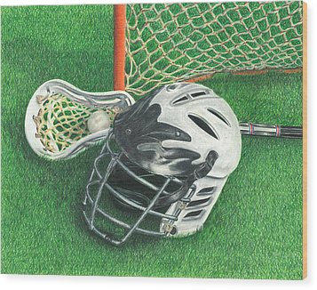 Lacrosse Wood Print by Troy Levesque