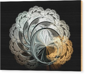Wood Print featuring the digital art Lacy Fractal by Lea Wiggins