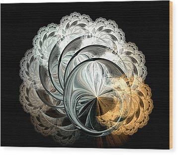 Lacy Fractal Wood Print by Lea Wiggins