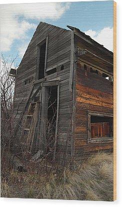 Ladder Against A Barn Wall Wood Print by Jeff Swan