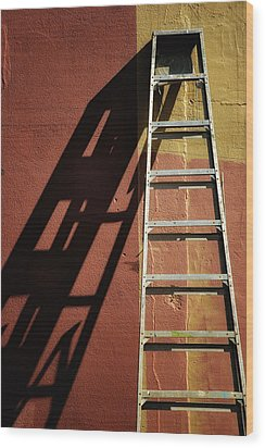 Ladder And Shadow On The Wall Wood Print by Gary Slawsky