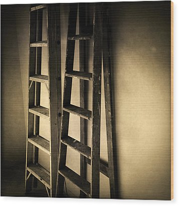 Ladders Wood Print by Les Cunliffe