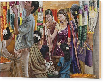 Ladies At The Flower Market In India Wood Print by Dominique Amendola