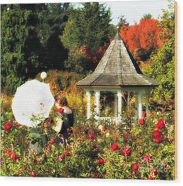 Ladies In Rose Garden Wood Print