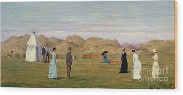 Ladies Match At Westward Ho Wood Print by Francis Powell Hopkins