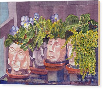 Wood Print featuring the painting Ladies Of The Garden by Sandy Linden
