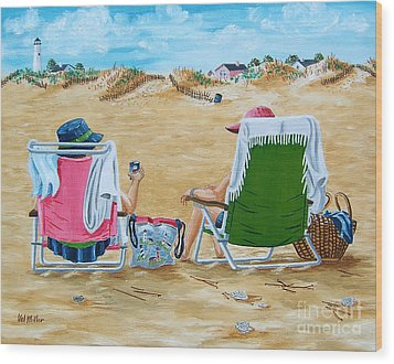 Ladies On The Beach Wood Print by Val Miller