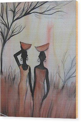 Ladies Walking In The Fields In Kenya Wood Print