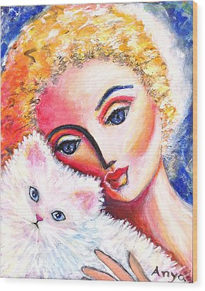 Wood Print featuring the painting Lady And White Persian Cat by Anya Heller