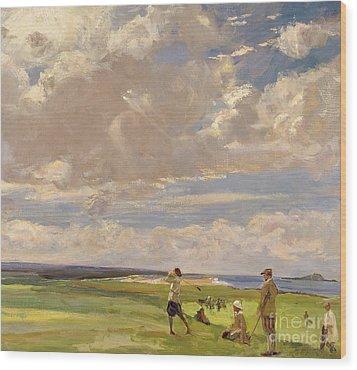 Lady Astor Playing Golf At North Berwick Wood Print by Sir John Lavery