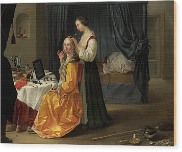 Lady At Her Toilet Wood Print by Netherlandish School