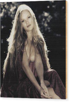 Lady At River Wood Print
