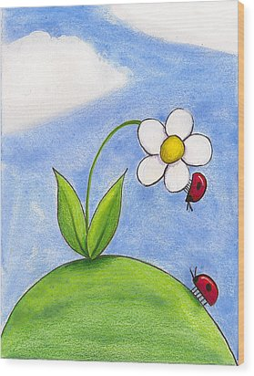 Lady Bug Love Wood Print by Christy Beckwith