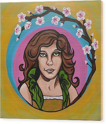 Wood Print featuring the painting Lady Cherry Blossom by Sarah Crumpler