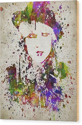 Lady Gaga In Color Wood Print by Aged Pixel