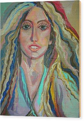 Lady Gaga Wood Print by Julie Lee