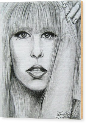 Wood Print featuring the drawing Lady Gaga by Patrice Torrillo