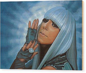 Lady Gaga Painting Wood Print by Paul Meijering