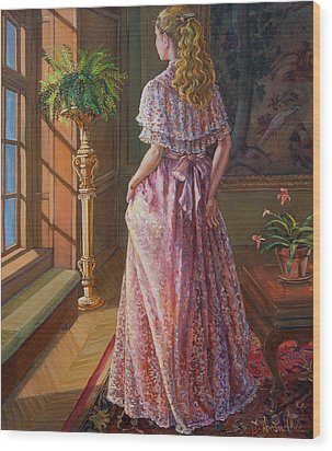 Lady Gazing Through The Window Wood Print by Dominique Amendola