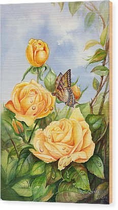 Lady Hillington Tea Rose Wood Print by Patricia Schneider Mitchell